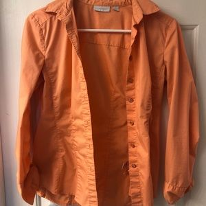 Orange New York and Company Button Down 3/4 Sleeve